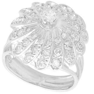 0.90 ct Diamond and 14 ct White Gold Dress Ring - Vintage Circa 1950