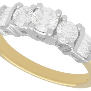 1.03 ct Diamond and 18 ct Yellow Gold Trilogy Ring - Vintage Circa 1990