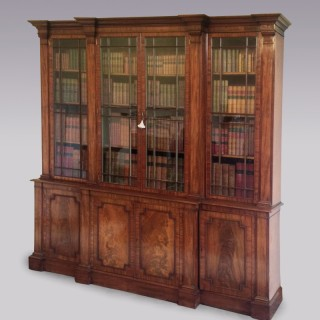Antique George III period mahogany 'Gillows' Breakfront Bookcase.