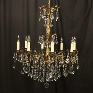 Italian 8 Light Gilded Bronze Antique Chandelier