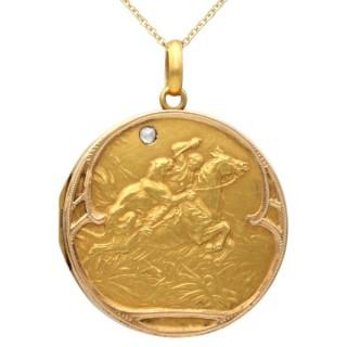 Diamond and 21 ct Yellow Gold Locket - Antique Circa 1900