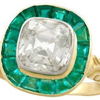3.25ct Emerald and 1.92ct Diamond, 18ct Yellow Gold Dress Ring - Antique Circa 1880