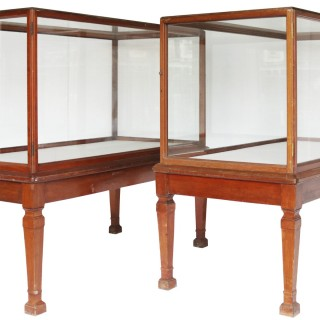 A Pair of Antique Glazed Museum Display Cabinets