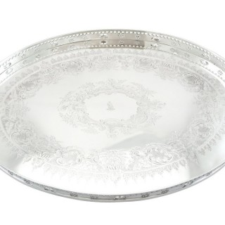 Sterling Silver Galleried Tea Tray - Antique Victorian (1898)