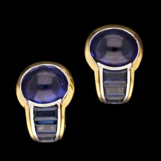 Hemmerle Pair of Sapphire Gold and Platinum Ear Clips
