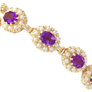 19.80 ct Amethyst and Cultured Pearl, 9ct Yellow Gold Bracelet - Vintage 1963