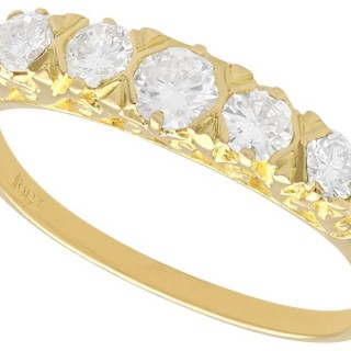 0.84 ct Diamond and 18 ct Yellow Gold Five Stone Ring - Vintage Circa 1940
