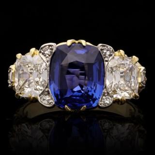 Hancocks 4.12ct Ceylon Sapphire 1.43ct Old Mine Brilliant Diamond Ring 18ct Gold