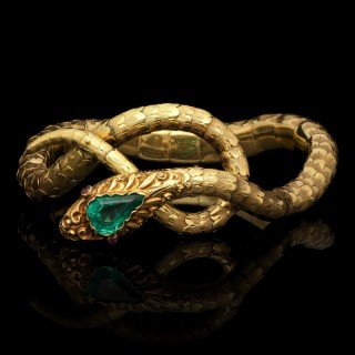 Antique Victorian Gold And Emerald Snake Bracelet Circa 1890
