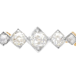 1.45 ct Diamond and 12 ct Yellow Gold Bar Brooch - Antique Circa 1880