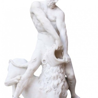 An Antique Classical Marble Statue of Hercules and The Nemean Lion