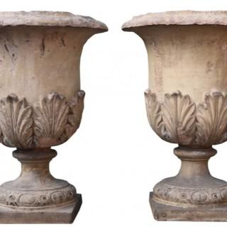 A Pair of Antique Buff Terracotta Garden Urns or Planters