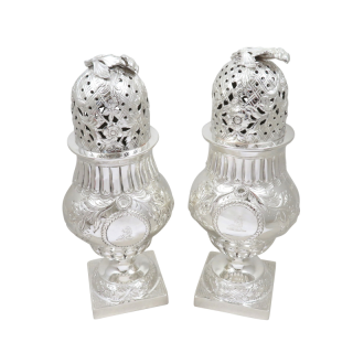 Pair of Antique Edwardian Sterling Silver Sugar Shakers 1903 / 1904