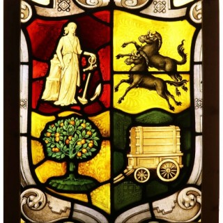 An Antique English Stained Glass Window Panel