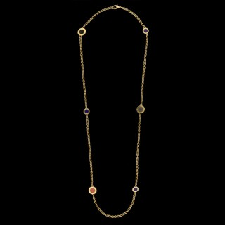 Bulgari 18ct Yellow Gold And Multi Gem Set Long Chain Necklace