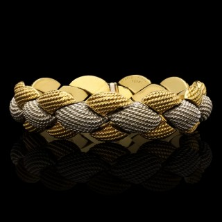 Pierre Sterlé Stylish French Two Tone Yellow and White Gold Bracelet