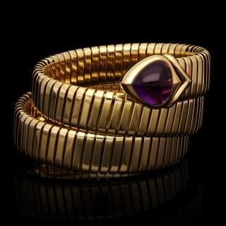 Bulgari Stylish Serpenti Tubogas Gold And Amethyst Bracelet