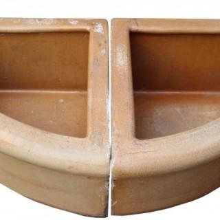 Two Salt Glazed Terracotta Corner Troughs