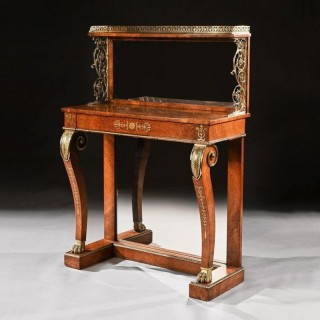 Regency Amboyna and Brass Inlaid Gilt Bronze Mounted Pier Table.