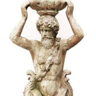 A Reclaimed Garden Herm Statue of Atlas