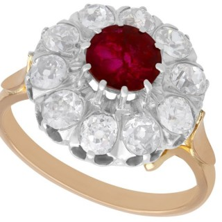 1.26 ct Ruby and 2.35 ct Diamond, 18 ct Rose Gold Dress Ring - Vintage Circa 1940