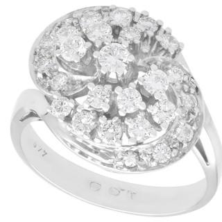 1.00 ct Diamond and 14 ct White Gold Dress Ring - Vintage Circa 1960