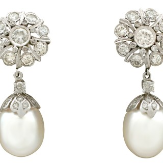 3.58ct Diamond and South Sea Pearl, 18ct White Gold Drop Earrings - Vintage Circa 1960