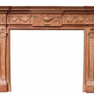 A Georgian Style Carved Pine Fire Surround