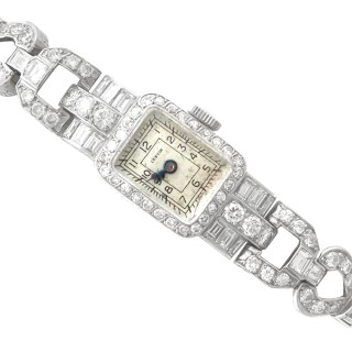 3.35 ct Diamond and Platinum Cocktail Watch by Cervin - Vintage Circa 1940