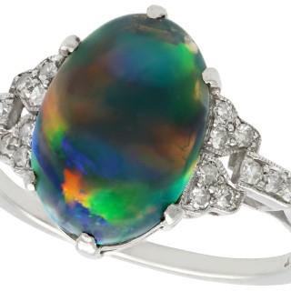 2.05ct Black Opal and 0.22ct Diamond, Platinum Dress Ring - Antique Circa 1925
