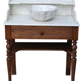 An Antique Marble and Oak Wash Stand with Basin
