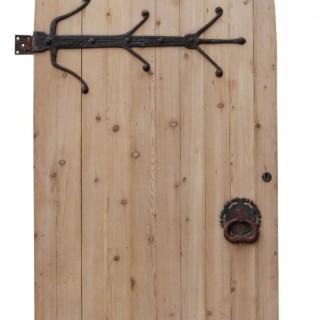 Antique Arched Pine Exterior Door