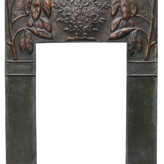 A Reclaimed Arts and Crafts Style Copper Fireplace Insert