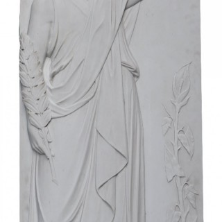 A Large Antique Statuary Marble Plaque of a Classical Figure