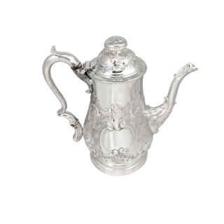 Antique Georgian Sterling Silver Newcastle Coffee Pot 1740