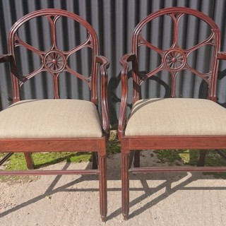 Pair 18th Century Antique Armchairs In the Manner of Ince and Mayhew