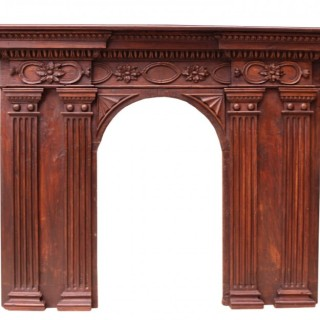 Antique French Walnut and Oak Fire Surround