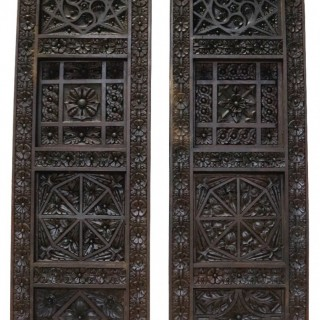A Pair of Antique Reclaimed Carved Oak Panels
