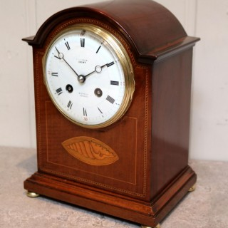 Edwardian Mahogany And Inlay Mantel Clock