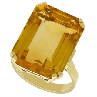 15.71ct Citrine and 14ct Yellow Gold Dress Ring - Vintage Circa 1940