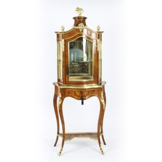 Antique French Ormolu Mountred Marquetry Display Cabinet 19th C