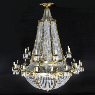 Antique Louis Revival 36 light Ballroom Cut Crystal Tent Chandelier c1920