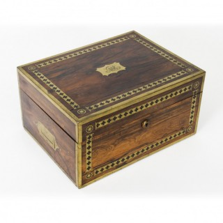 Antique Coromandel Brass Banded Jewellery and Dressing Box 1840 19th C