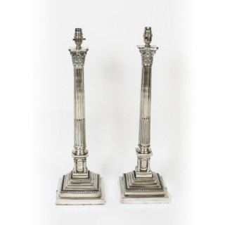 Antique Pair 2ft Silver Plated Corinthian Column Table Lamps C1910