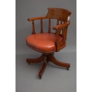 English Mahogany Revolving Office Chair