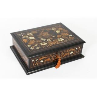 Antique Dutch Marquetry Ebonized Jewellery Casket C1870 19th C