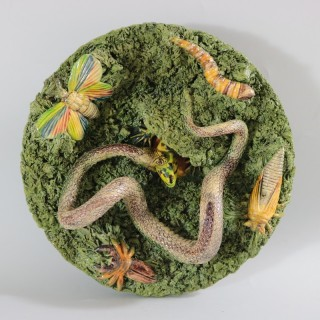Cunha Palissy Majolica Plate with Snake & Lizard