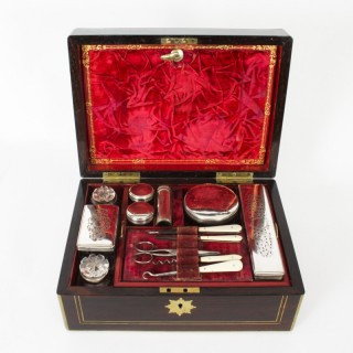 Antique Victorian Coromandel Gentleman's Vanity Case Box Circa 1840 19th C