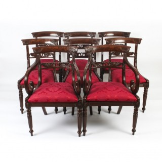 Antique Set 8 Regency Mahogany Dining Chairs Manner of Gillows c.1820 19th C