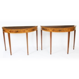 Antique Pair Fruitwood Inlaid Console Tables 20th C